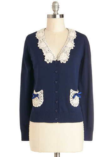 Not Un-lace There Are Bows Cardigan in Navy - Mid-length, Knit, Blue, Solid, Bows, Crochet, Pockets, Vintage Inspired, 20s, Better, V Neck, Long Sleeve, Buttons, Long Sleeve, Variation, Blue