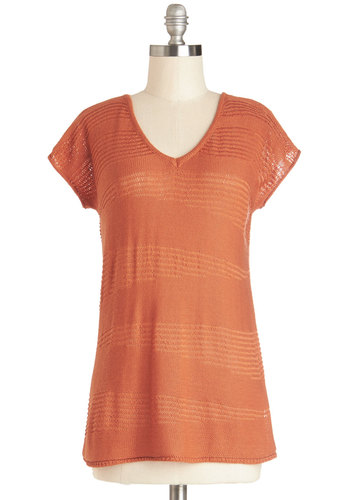 Hosting for Lunch Top - Sheer, Knit, Mid-length, Orange, Solid, Casual, Better, V Neck, Short Sleeve, Orange