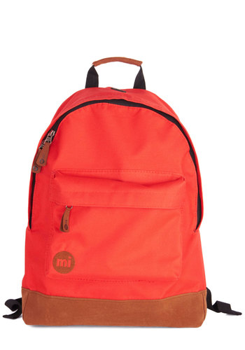 All Across Campus Backpack in Red - Faux Leather, Woven, Red, Tan / Cream, Solid, Scholastic/Collegiate, Good, Travel