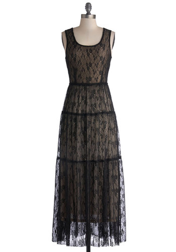 Parlour Party Dress - Black, Tan / Cream, Lace, Tiered, Casual, Boho, Maxi, Tank top (2 thick straps), Scoop, Better, Sheer, Knit, Long, Steampunk, Lace
