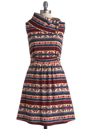 Coach Tour Dress in Stitch - Knit, Multi, Red, Blue, Tan / Cream, Print, Pockets, Casual, A-line, Sleeveless, Winter, Variation, Holiday, Mid-length