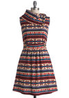 Coach Tour Dress in Stitch - Knit, Mid-length, Multi, Red, Blue, Tan / Cream, Print, Pockets, Casual, A-line, Sleeveless, Winter, Variation, Holiday