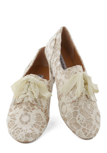 Just a Glitter Bit Flat in Ivory - White, Tan / Cream, Lace, Fairytale, Flat, Good, Lace Up, Glitter, Variation, Lace