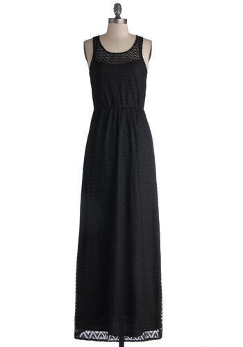 You Yacht to Know Dress - Sheer, Knit, Long, Black, Solid, Casual, Maxi, Racerback, Good, Scoop, Lace, Lace