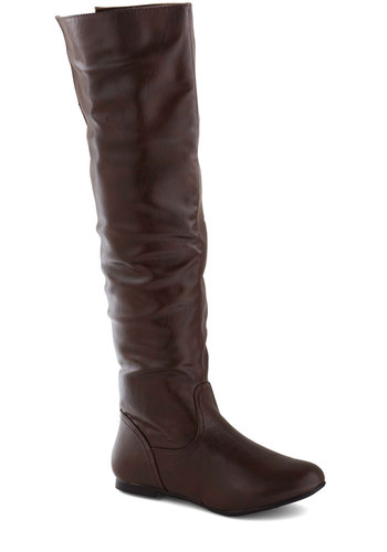 Gallop Poll Boot - Flat, Faux Leather, Brown, Solid, Minimal, Fall, Winter