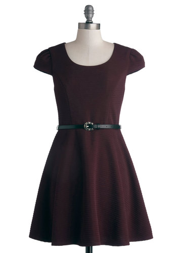 Sugar Plum Flair Dress - Knit, Purple, Solid, Cutout, Belted, Casual, A-line, Cap Sleeves, Good, Scoop
