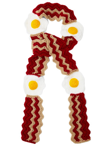 Brunch Bunch Scarf - Knit, Brown, Yellow, White, Kawaii, Quirky, Better, Winter, Statement