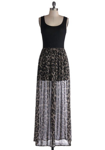 Salon the Job Dress - Jersey, Sheer, Knit, Woven, Long, Black, Grey, Animal Print, Casual, Maxi, Tank top (2 thick straps), Good, Scoop, Summer