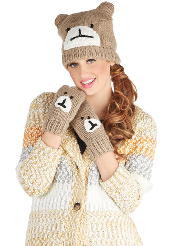 Bear With Us Hat and Mitten Set - Tan, Black, White, Print with Animals, Fall, Winter, Better, Knit, Critters, Gifts Sale