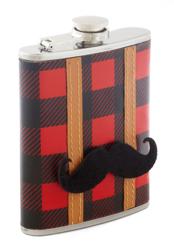 Lumberjack Happy Hour Flask - Faux Leather, Red, Brown, Black, Plaid, Travel, Gifts Sale