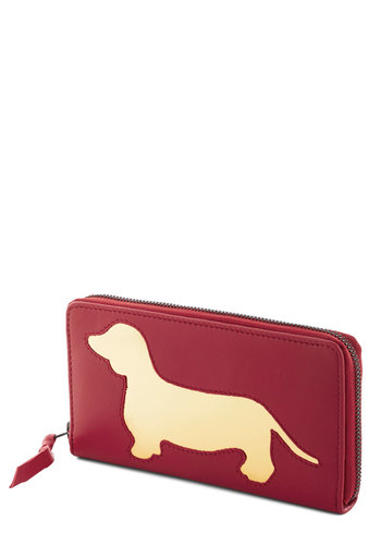Wiener Takes All Wallet in Red by And Mary - Red, Gold, Print with Animals, International Designer, Leather, Variation