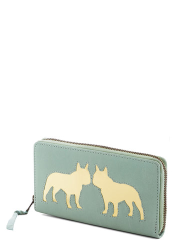 Terrier Takes All Wallet - Mint, Gold, Print with Animals, Pastel, International Designer, Leather, Variation
