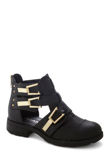 Earn Your Edge Boot - Low, Faux Leather, Black, Solid, Buckles, Urban, Festival