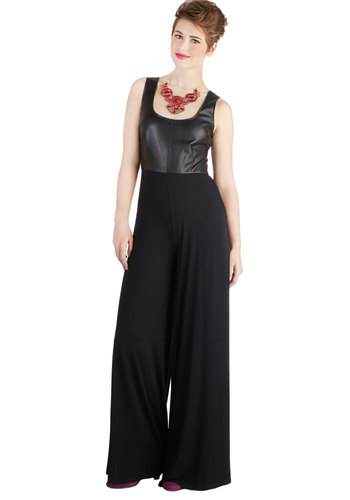 Art Walk the Walk Jumpsuit by BB Dakota - Long, Faux Leather, Knit, Black, Solid, Urban, Jumper, Best, Scoop, Ultra High Rise, Full length, Sleeveless, Tank top (2 thick straps), Black
