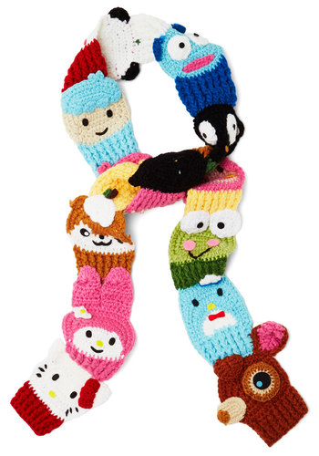 Kawaii Character Scarf - Knit, Multi, Print with Animals, Kawaii, Better, Quirky, Winter, Statement