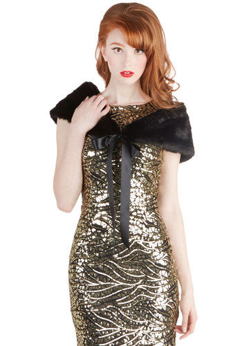Ladylike League Stole - Black, Solid, Special Occasion, Luxe, Faux Fur, Best, Holiday Party
