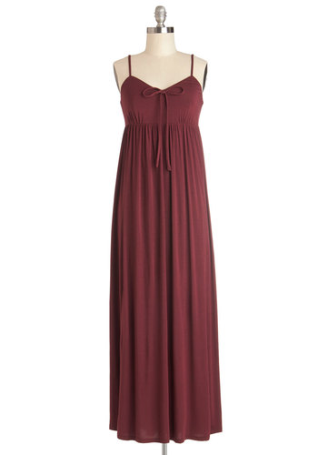 Breeze Easy Dress in Burgundy - Red, Solid, Casual, Maxi, Spaghetti Straps, Good, Jersey, Cotton, Knit, Long, Empire, Variation, Boho, Sundress, Beach/Resort, Cover-up, Festival, Maternity, Summer