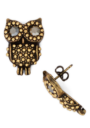 Owl Dressed Up Earrings - Gold, Print with Animals, Rhinestones, Owls, Gold, Critters