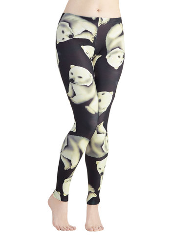 Fresh Take  Leggings in Polar Bear - Knit, Quirky, Better, Mid-Rise, Ankle, Black, Black, Print with Animals, Casual, Critters, Skinny, Winter, Variation