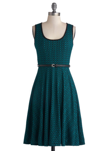 Gift of Groovy Dress - Knit, Mid-length, Green, Blue, Chevron, Belted, Casual, A-line, Tank top (2 thick straps), Good, Scoop