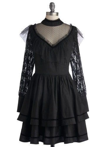 Take the Stagecoach Dress - Sheer, Woven, Mid-length, Black, Solid, Lace, Ruffles, Party, A-line, Long Sleeve, Better, International Designer, Tiered, French / Victorian, Steampunk