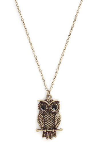 Owl or Never Necklace - Print with Animals, Owls, Critters, Gold, Woodland Creature