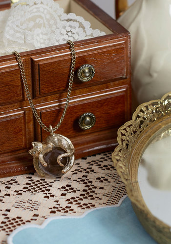 Luxe Lounging New Heirloom Necklace - White, Print with Animals, Cats, Gold, Good