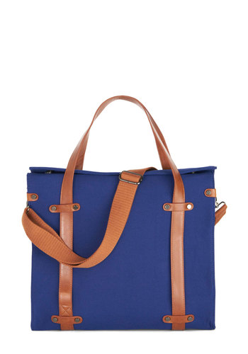 Camp Director Tote in Navy - Blue, Tan / Cream, Solid, Work, Casual, Scholastic/Collegiate, Better, Exclusives, Variation, Basic, Faux Leather, Woven, Gifts Sale