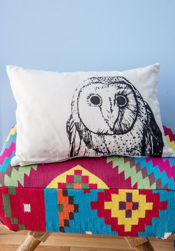 Owl Around Adorable Pillow - Cotton, Woven, White, Owls, Rustic, Good, Black, Critters, Boho, Woodland Creature