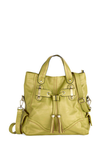 Pear For Art Thou Bag - Gold, Solid, Tassels, Work, Casual, Better, Faux Leather, Green, Spring