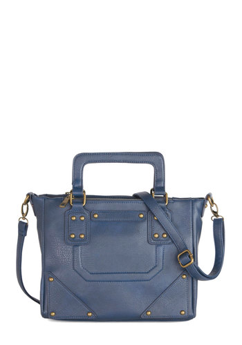I'm on a Riverboat Bag - Blue, Gold, Solid, Studs, Work, Faux Leather