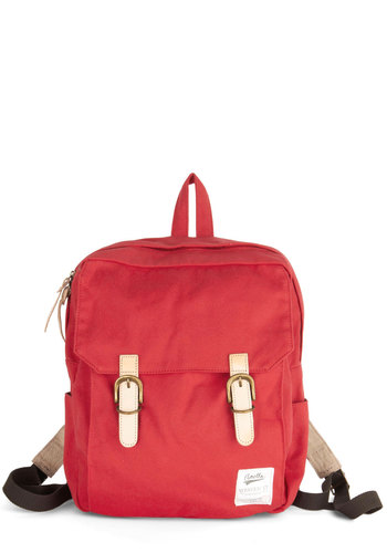 Swing Into Action Backpack in Red - Red, White, Solid, Buckles, Scholastic/Collegiate, Good, Variation, Cotton, Woven, Casual, Travel