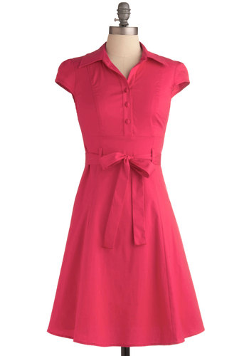 Soda Fountain Dress in Pink - Solid, Buttons, Casual, Vintage Inspired, 50s, A-line, Shirt Dress, Cap Sleeves, Red, Rockabilly, Pinup, Mid-length, Fit & Flare, Belted, Best Seller, Button Down, Collared, Work, Variation, Basic, Top Rated, Spring, Valentine's