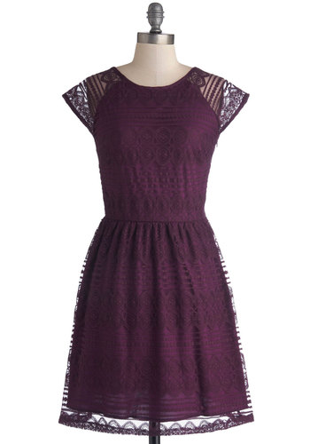 Wine and Chez Dress - Purple, Solid, Lace, Party, A-line, Cap Sleeves, Good, Knit, Mid-length, Sheer