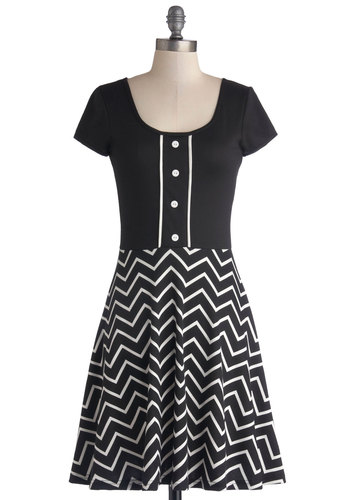 Sweet and Dimple Dress - Black, White, Chevron, Buttons, Casual, A-line, Cap Sleeves, Better, Scoop, Knit, Mid-length