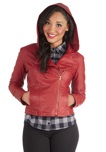 Hit the Bricks Jacket in Red by Jack by BB Dakota - Short, Solid, Exposed zipper, Fall, 2, Faux Leather, Pockets, Urban, Hoodie, Good, Red, Long Sleeve, Red
