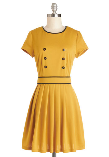 I've Got an Inn Dress - Yellow, Black, Buttons, Trim, Casual, A-line, Short Sleeves, Better, Crew, Solid, Pleats, Exclusives, Knit, Exposed zipper, Scholastic/Collegiate, Mid-length