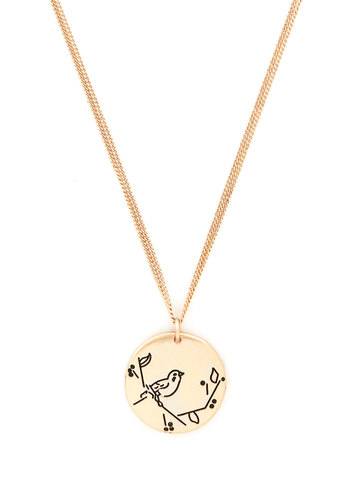 Tweet Rewards Necklace - Gold, Print with Animals, Gold