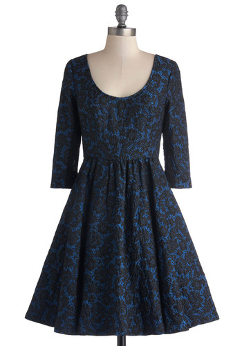 Tracy Reese Director's Circle Dress by Tracy Reese - Mid-length, Woven, Blue, Black, Lace, Cocktail, Fit & Flare, 3/4 Sleeve, Best, Scoop, Exposed zipper, Party, Holiday Party