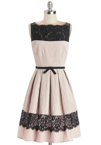 Birthday Soiree Dress - Mid-length, Woven, Pink, Black, Bows, Lace, Pleats, Cocktail, A-line, Sleeveless, Better, Party, Fit & Flare, Valentine's, Lace