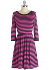 Rah-Rah-Raleigh Dress - Knit, Mid-length, Black, Stripes, Casual, A-line, Long Sleeve, Good, Pink