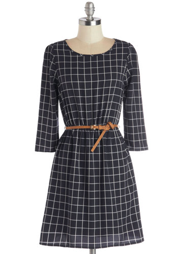 Ten Out of Tenure Dress - Woven, Mid-length, White, Belted, Casual, A-line, 3/4 Sleeve, Good, Scoop, Blue, Checkered / Gingham