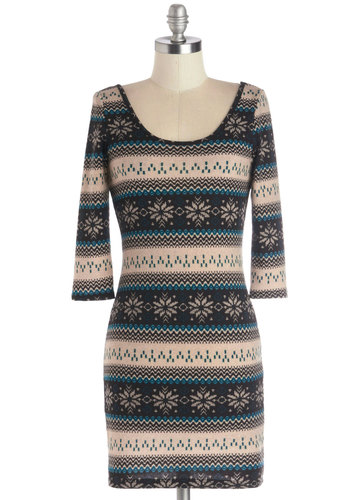 Cabin Cocktail Dress - Knit, Short, Multi, Print, Casual, Sweater Dress, 3/4 Sleeve, Good, Scoop, Winter, Holiday