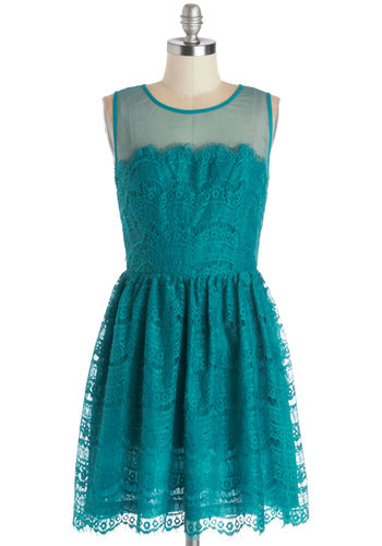 Fashionably Undulate Dress in Teal - Blue, Solid, Prom, Wedding, Party, A-line, Sleeveless, Better, Scoop, Sheer, Knit, Short, Cutout, Bridesmaid, Lace