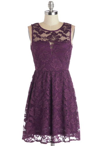 A Glance of Elegance Dress - Sheer, Woven, Purple, Solid, Lace, Party, A-line, Sleeveless, Good, Scoop, Wedding, Bridesmaid, Mid-length