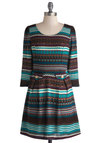 Alpining for the Sun Dress - Knit, Mid-length, Multi, Print, Buttons, Casual, A-line, Long Sleeve, Good, Scoop, Winter