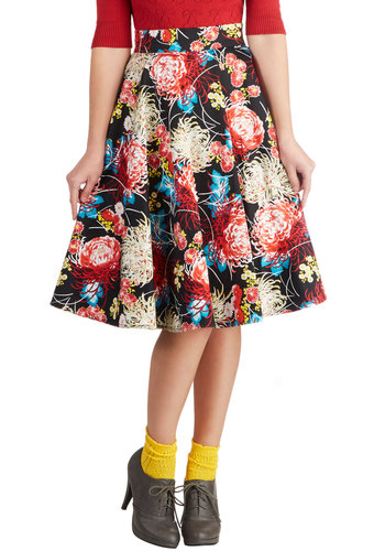 Rare Blooms Enthusiast Skirt - Floral, Cotton, Woven, Multi, Daytime Party, Long, Ballerina / Tutu, Multi