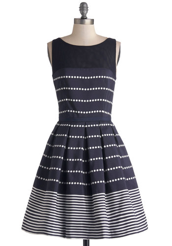 Promoting Elegance Dress in Navy - Sheer, Knit, Woven, Mid-length, Blue, White, Polka Dots, Cutout, Pleats, Party, Fit & Flare, Sleeveless, Better, Exposed zipper, Pockets, Variation, Boat