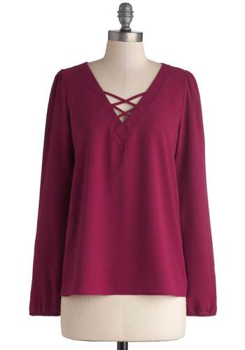 Berry Nice to Meet You Top - Woven, Mid-length, Solid, Casual, Boho, 70s, Better, V Neck, Red, Long Sleeve, Pink, Vintage Inspired, Long Sleeve