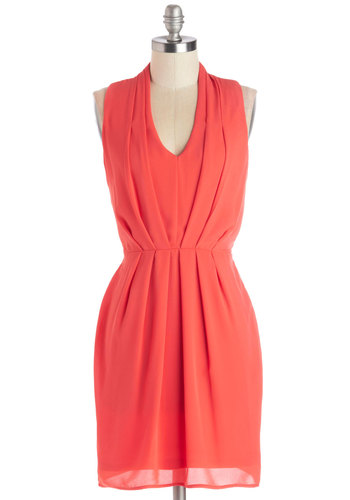 Sublime Melon Dress - Woven, Mid-length, Coral, Solid, Party, Shift, Sleeveless, Good, V Neck, Pleats